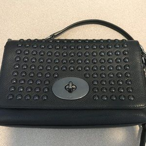 Coach Black Leather Studded Crossbody Bag Purse